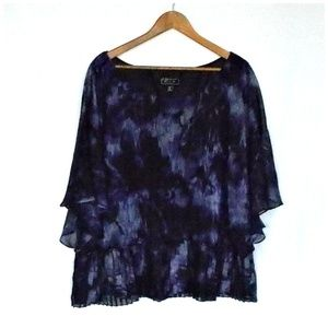 Dress Barn Purple & Black Abstract Print Blouse